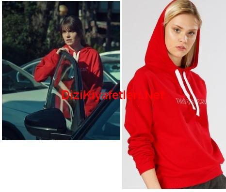 istanbullu Gelin 47 Bolum Sureyya kırmızı sweatshirt