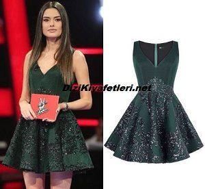 O Ses Türkiye Saadet Yeşil Elbise