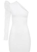 Mine Tugay Tek Kollu Beyaz Elbise