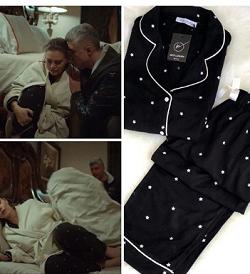 İstanbullu Gelin Aslı Enver Beyaz noktalı Siyah pijama takımı