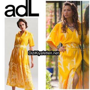 Erkenci Kuş Demet Ödemir Sarı elbise