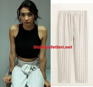 aybüke beyaz çizgili pantolon