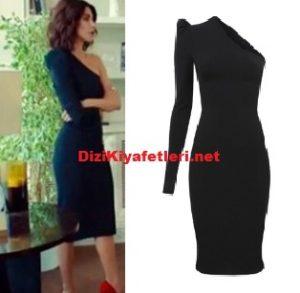 Şahika siyah tek kol elbise markası