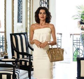 Yasak Elma Şahika Beyaz açık omuz elbise