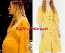 Yasak Elma Yıldız sarı elbise