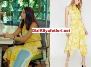 Yasak elma Leyla sarı elbise