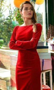 Çocuk Dizisi Şule kırmızı elbise markası