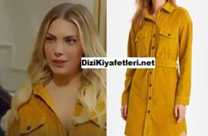 Yasak Elma Yıldız sarı kadife gömlek elbise