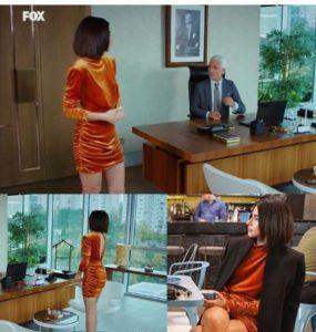 Yasak Elma Şahika turuncu elbise markası