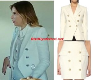 Eda Ece beyaz ceket