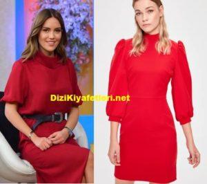 Gel Konuşalım Eylem ipek kırmızı elbisesi