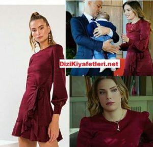 Yasak Elma Eda Ece bordo elbisesi