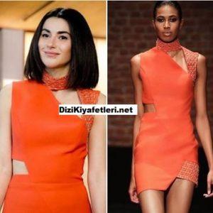 Yasak Elma Sahika turuncu elbisesi