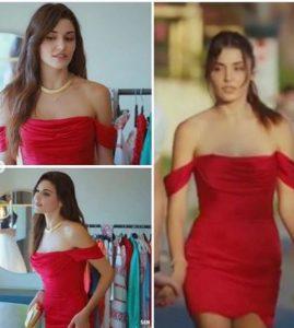 Sen Çal Kapımı Hande Erçel kırmızı elbisesi