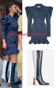 Demet Özdemir lacivert elbise