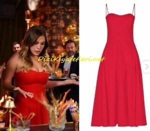 Eda Ece kırmızı elbise